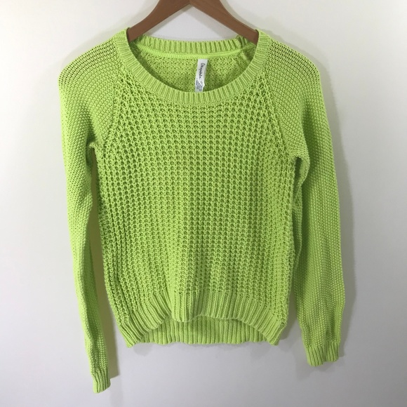 Aeropostale Lime Green Knit Sweater Size Medium